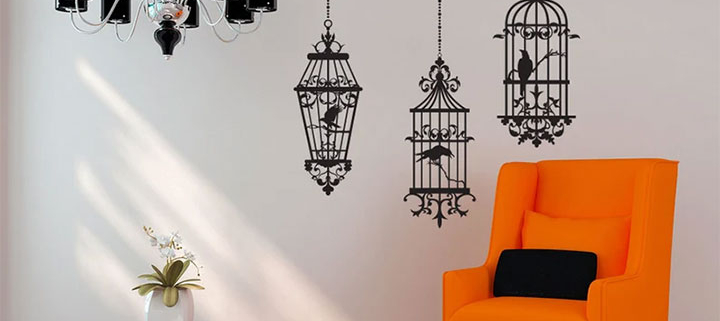 Stylish bird-cage decals against white wall