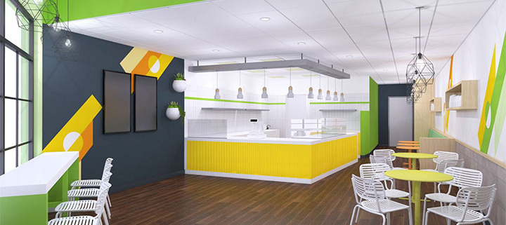 Cafe design in refreshing bright colors