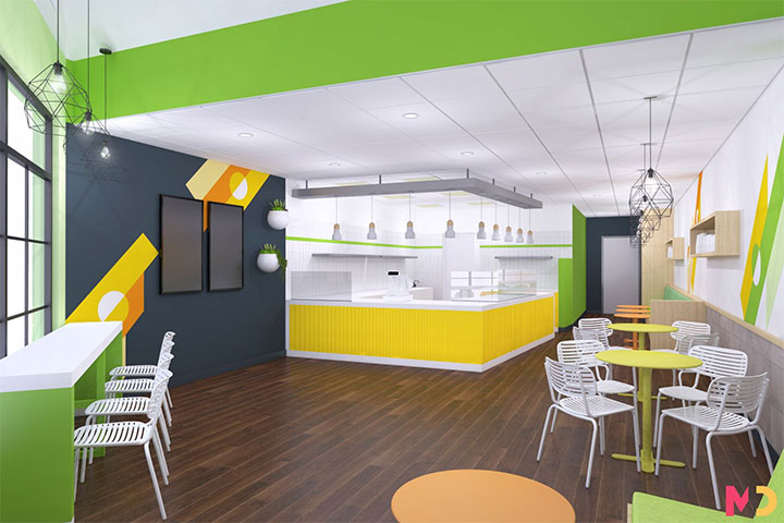Airy boba tea store design in green and yellow