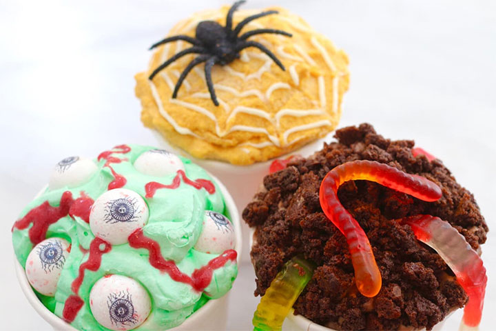 Halloween ice cream ideas with bubblegum, chocolate and pumpkin flavors