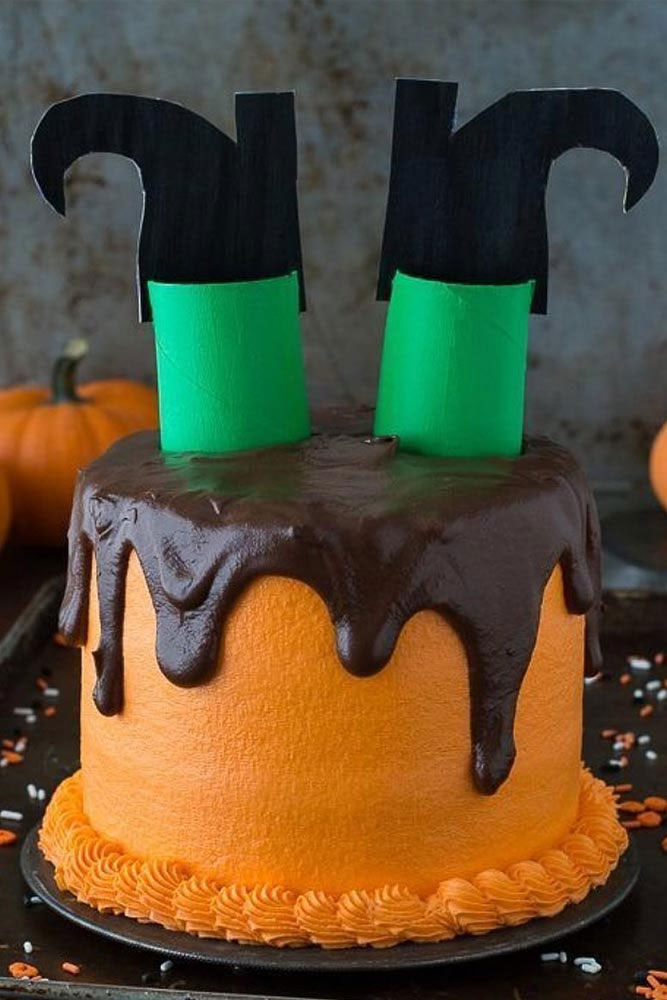 Halloween witch cake with chocolate icing