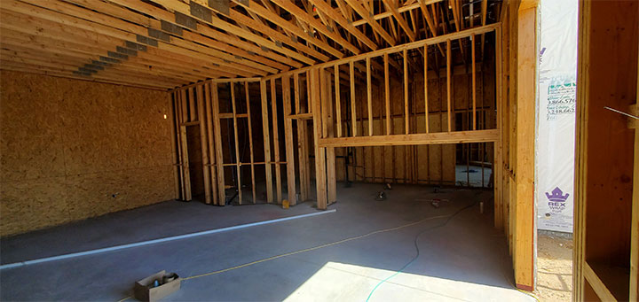 Interior of building under construction to house dessert store
