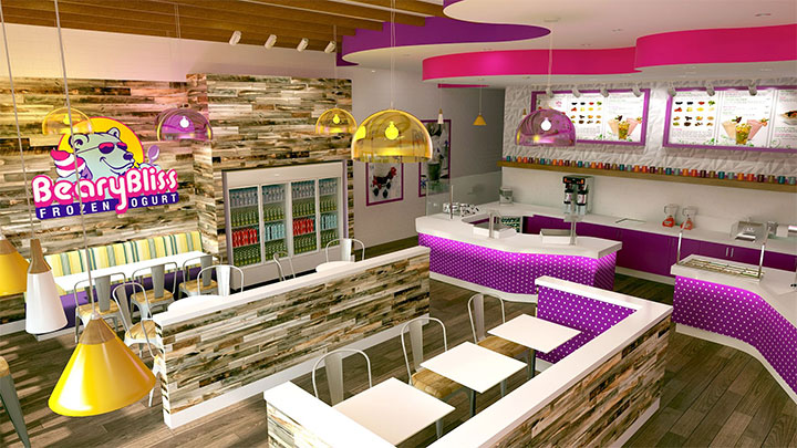 Wood accents in dessert store located in tourist area