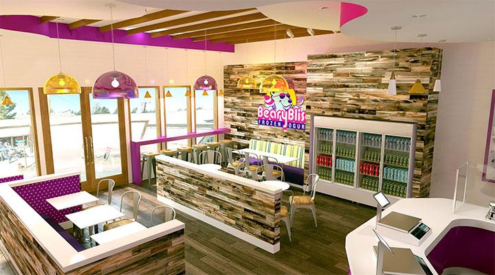 Wood panels in bear-themed ice cream shop