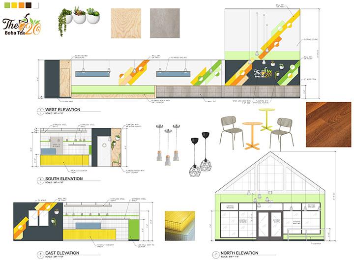 Store elevation for modern tea cafe