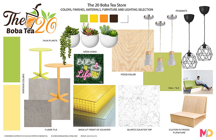Material and furniture board with modern pieces for bubble tea shop interior