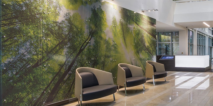 Beautiful landscape painted on aluminum sheet in lobby design