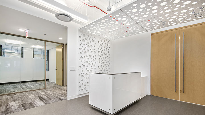 Monochrome interior with metal sheets used as wall and ceiling decor