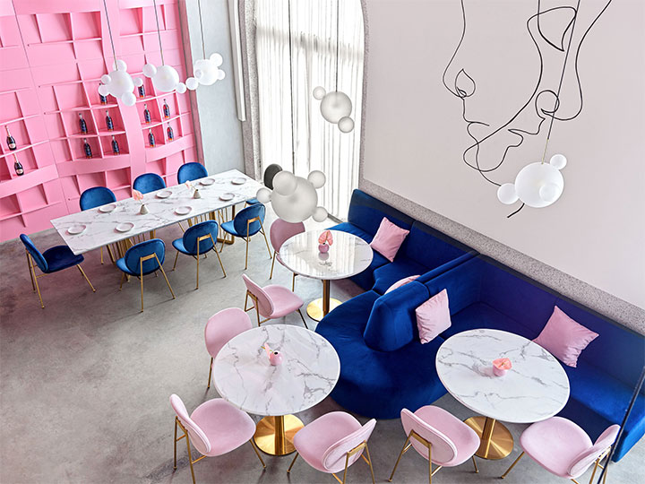 Pink, blue and gold accents in elegant design