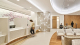 Metal sheets cover a curved wall in medical office