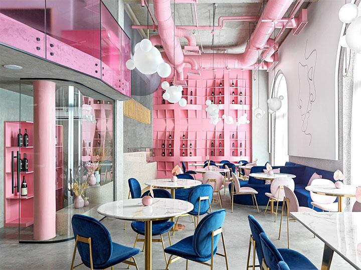 Contrasting pink and blue in elegant restaurant design